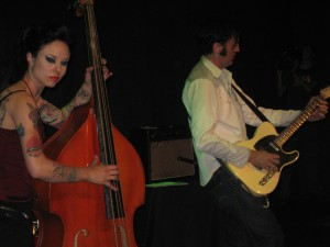 Bass player Symphony with Jonny Barber (R) and The Rhythm Razors